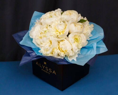 White peonies bouquet box
