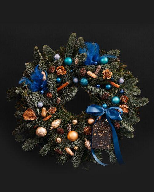 Coronita de Craciun 45 cm - Gold & Blue